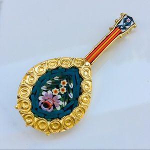 Mandolin brooch Italian handmade micro guitar